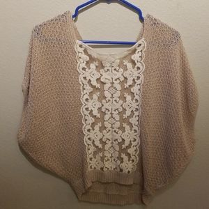 Free people slouch with lace womens xs top